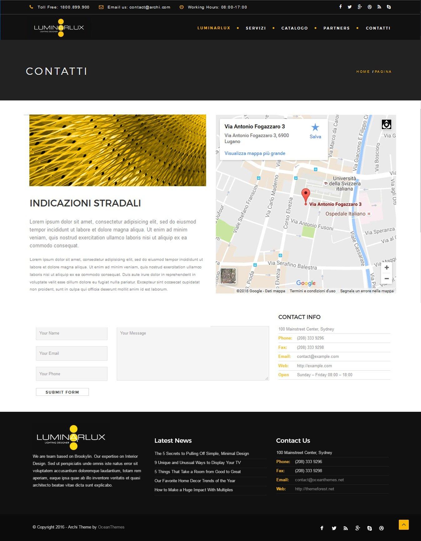 Wire Up sito web luminarlux contatti mappa