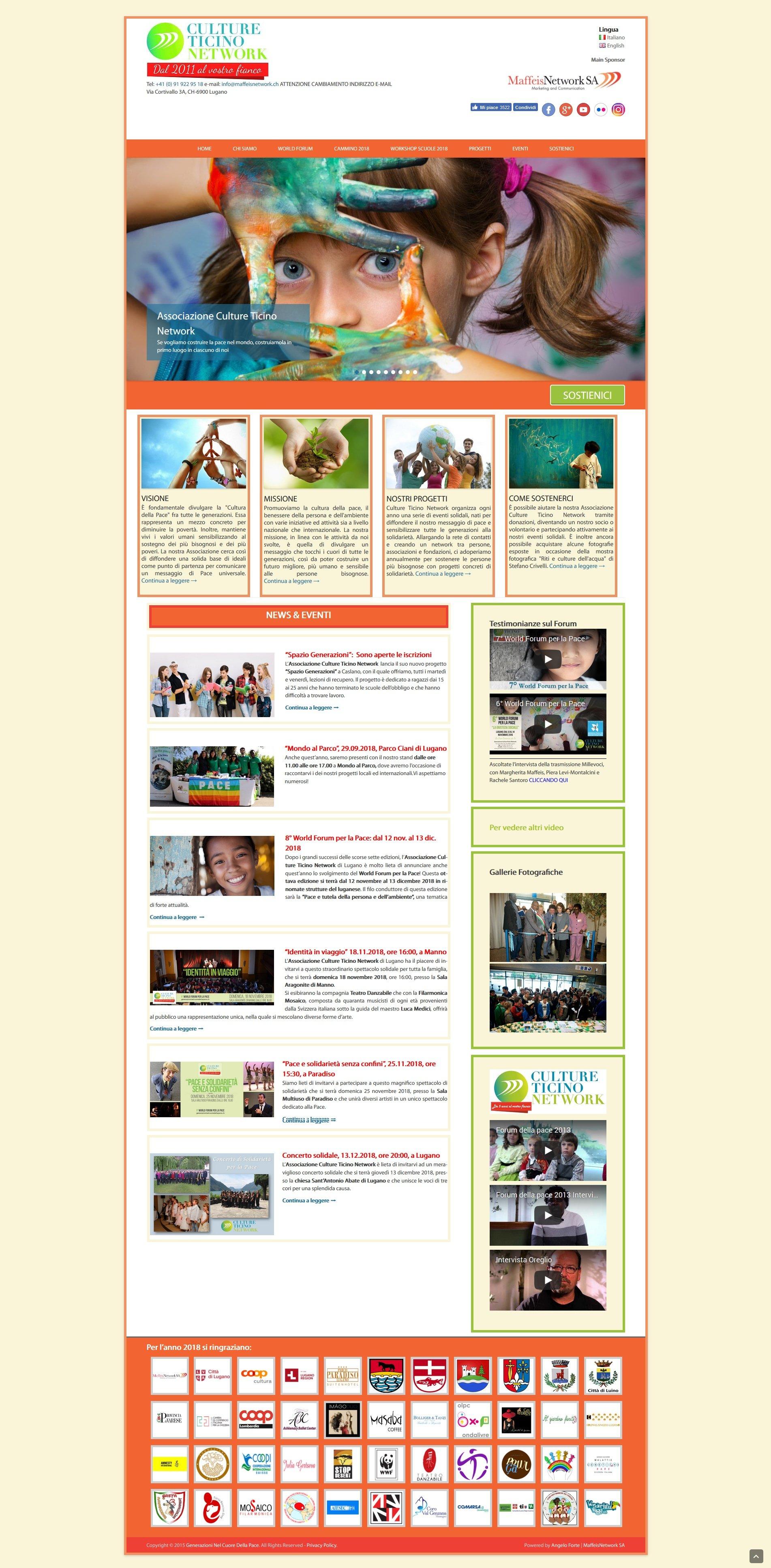 realizzazione sito web associazione culturale culture ticino network