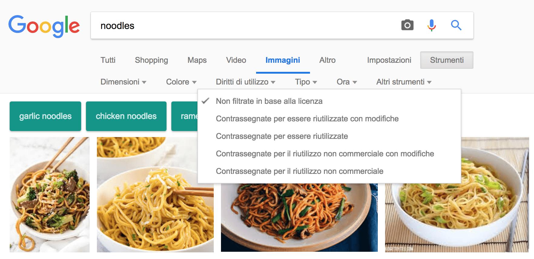 ricerca immagini google senza copyright