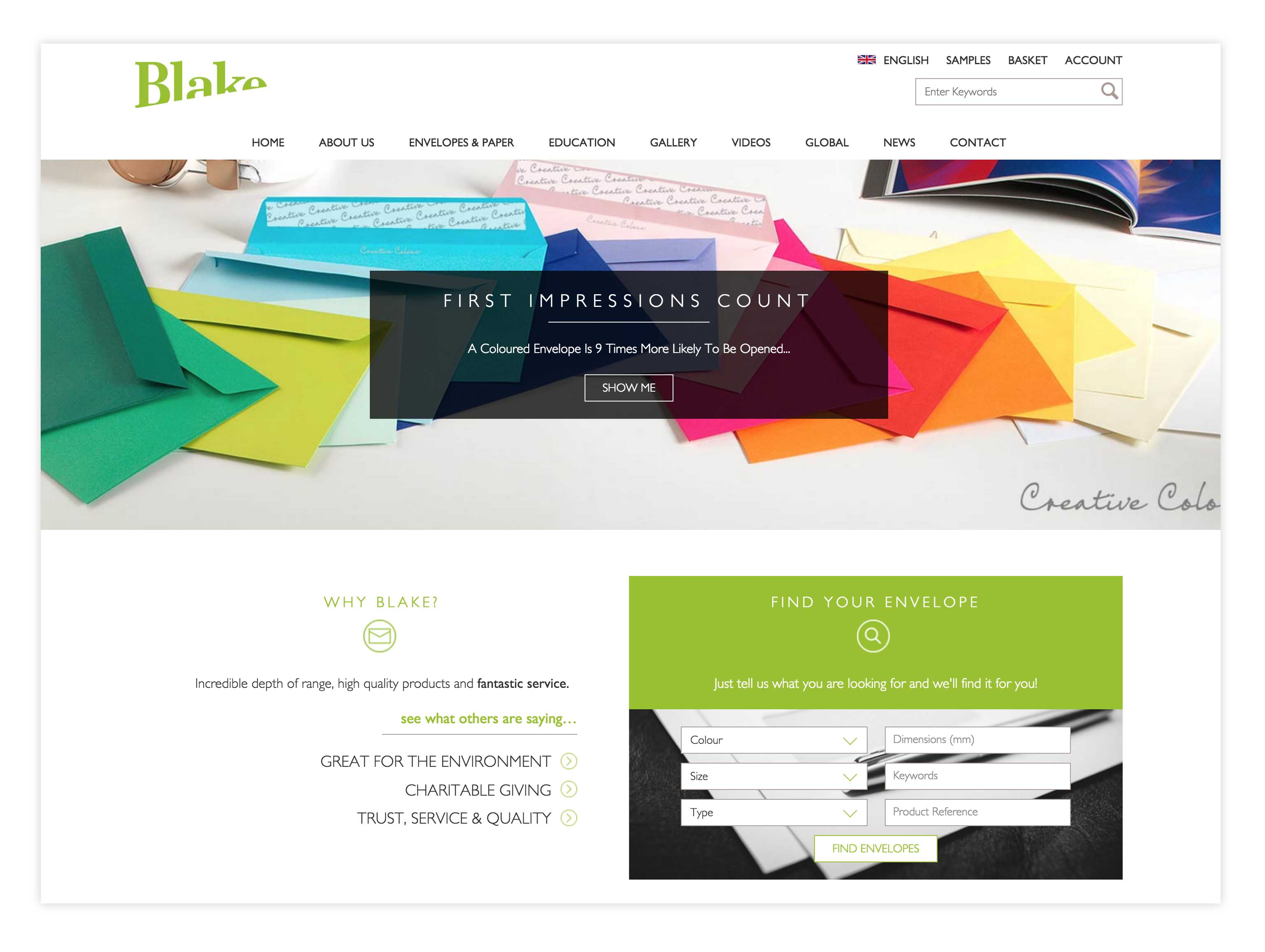 blake envelopes web design b2b