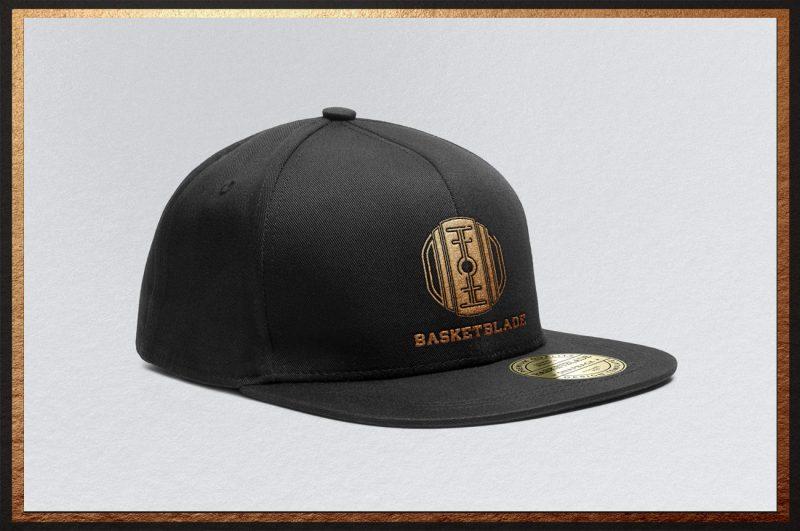 basket blade logo basketball brand identity mockup cap hat